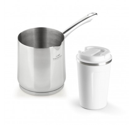 Set jeklene džezve Rosmarino Pour&Cook 900 ml in termo lončka za kavo 350 ml - bel