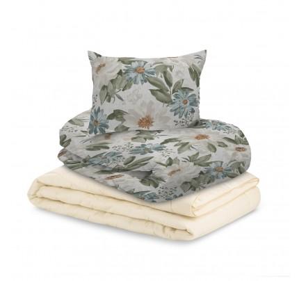 Set odeje Bamboo Premium in posteljnine Svilanit Beige Garden - 200x200 cm