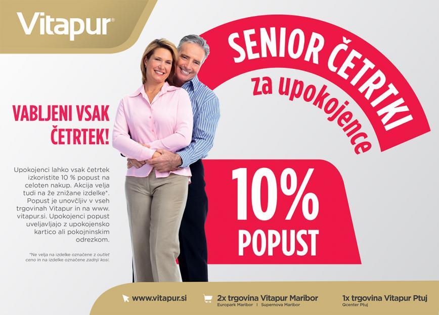 SENIOR ČETRTKI za upokojence - dodatni 10% popust