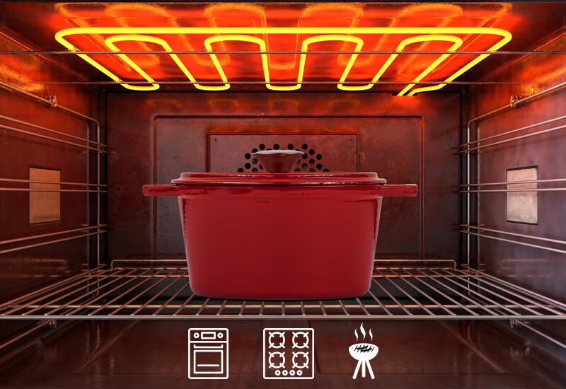 Primeren za uporabo na vseh vrstah kuhalnih površin, tudi indukciji, pečici in žaru