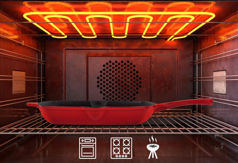 Primeren za uporabo na vseh vrstah kuhalnih površin, tudi indukciji, pečici in na žaru