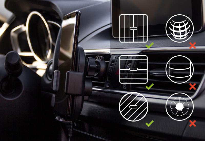 Možnost namestitve na ventilacijsko režo, armaturno ploščo ali vetrobransko steklo